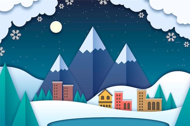 山と紙のスタイルの冬の風景 Premiumベクター