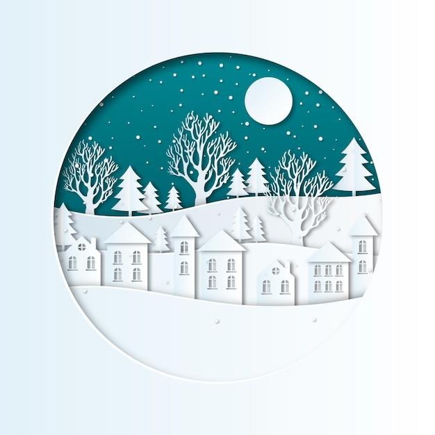 Зимний пейзаж в бумажном стиле со снегом Premium векторы