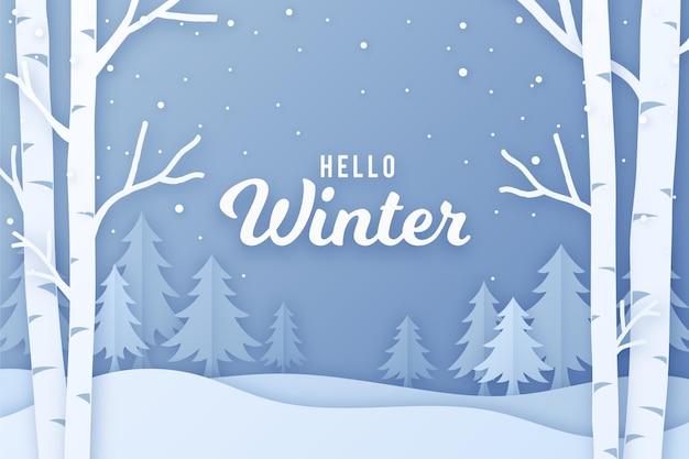 종이 스타일의 겨울 풍경 무료 벡터