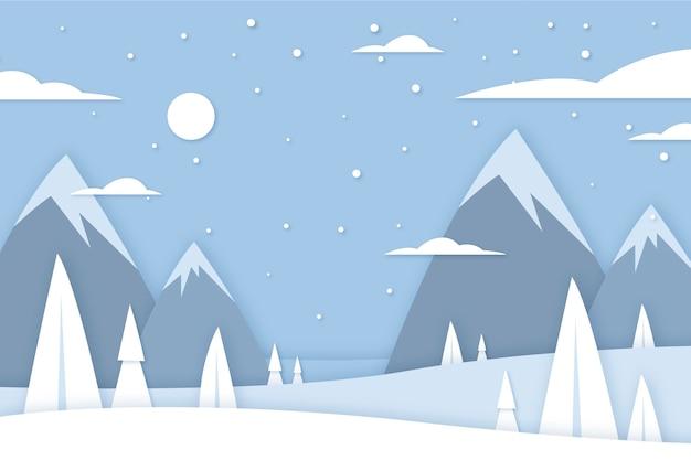 紙のスタイルの冬の風景 無料ベクター
