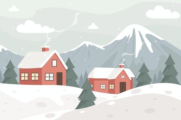 빈티지 색상의 겨울 풍경 무료 벡터