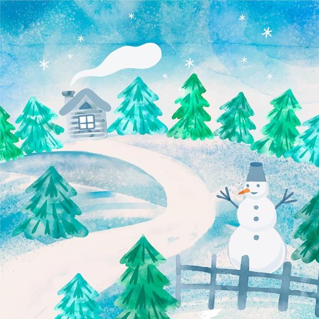 Зимний пейзаж в стиле акварели Бесплатные векторы