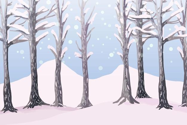수채화의 겨울 풍경 무료 벡터
