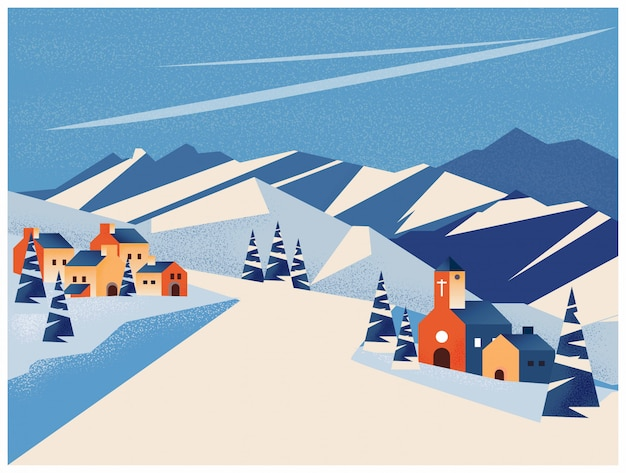 Winter landscape of little village in the mountain or peak Premium Vector