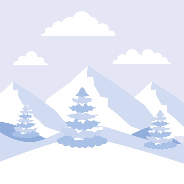 Winter landscape mountains alps and pine trees Premium Vector