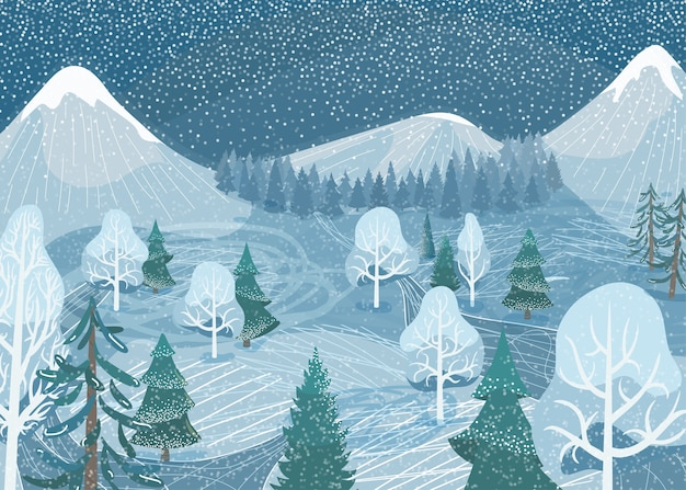 Winter landscape. nature mountain forest snowy scene with fir tree, road, spruce, pine. north outdoor snow scenery. Free Vector