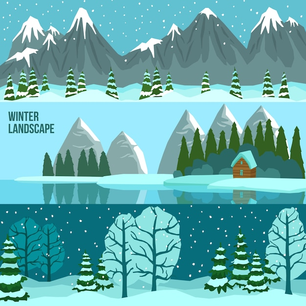 Winter landscape panorama banners Free Vector