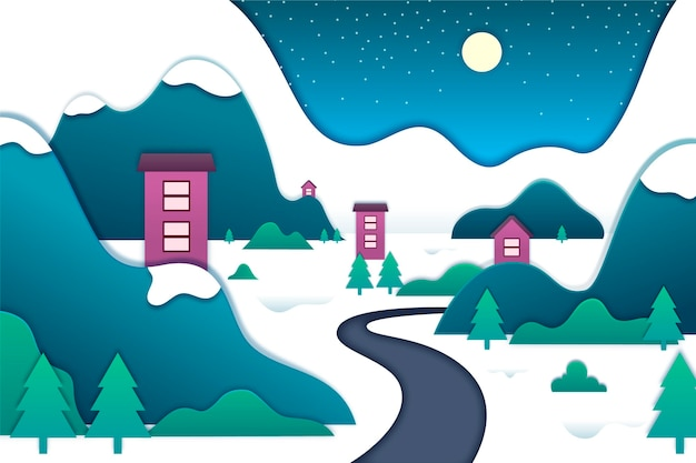 Paesaggio invernale in stile carta Vettore gratuito