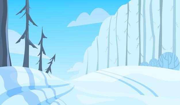 冬の風景です。木の雪、白と青の色の季節。自然の美しさ、12月の風景。漫画のスタイルのイラスト Premiumベクター