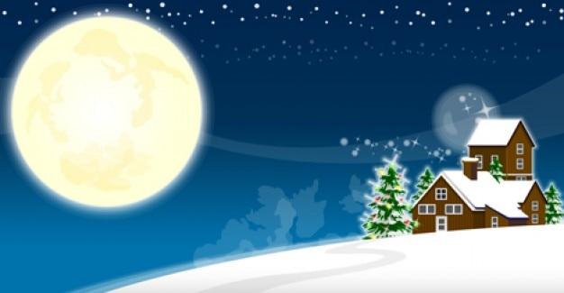 Winter landscape Vector Illustration Free Vector