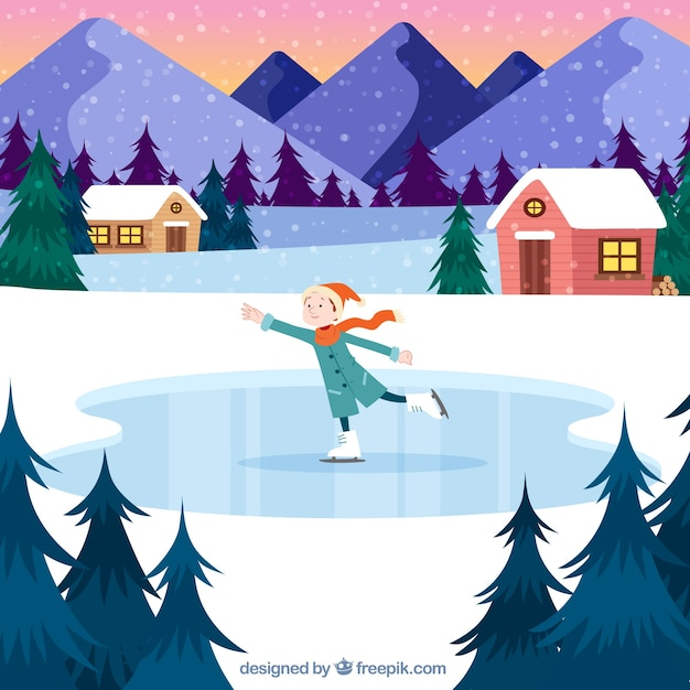 Winter landscape with boy ice skating Free Vector