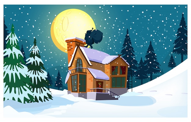 Winter landscape with cottage, moon, santa claus silhouette Free Vector