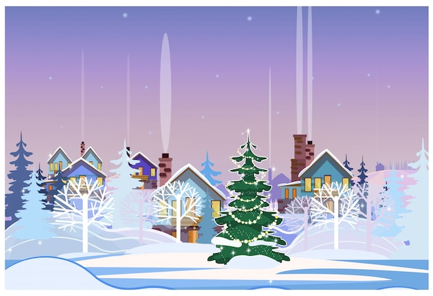 Winter landscape with cottages and decorated fir-tree Free Vector