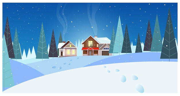 Winter landscape with cottages and fir-trees illustration Free Vector