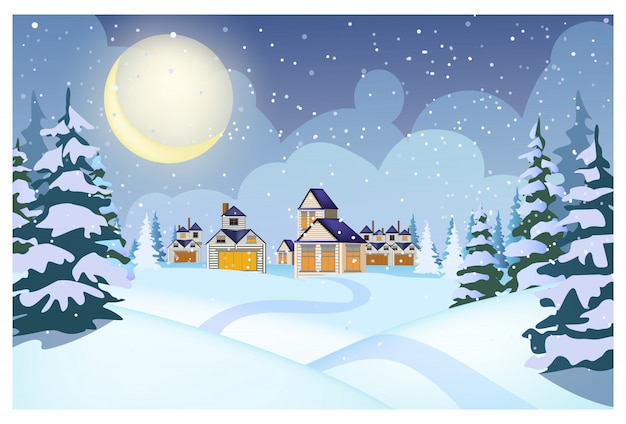 Winter landscape with cottages, snowdrifts and fir-trees Free Vector
