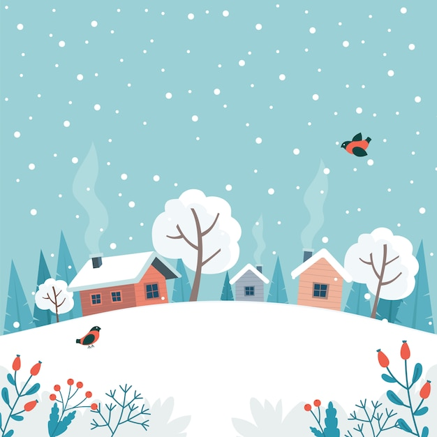 Winter landscape with cute house, fields and nature. Premium Vector