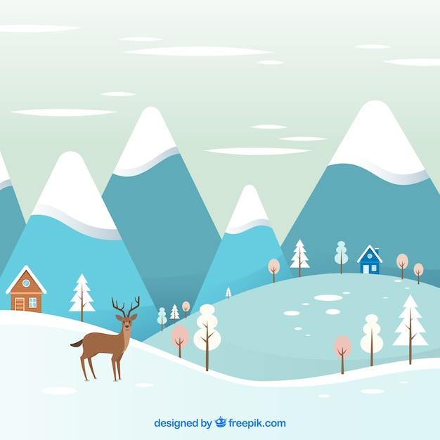 Winter landscape with deer