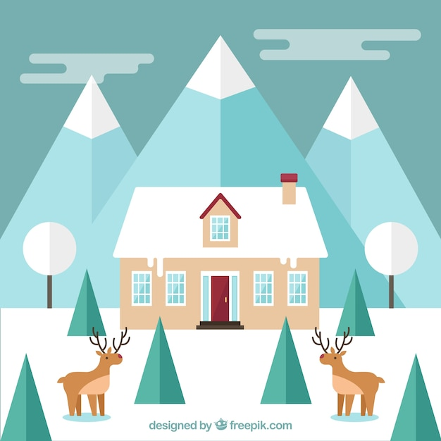 Winter landscape with deers in front of\ house