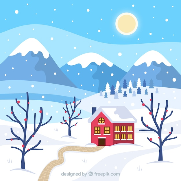 Winter landscape with flat house