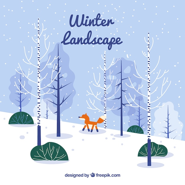 Winter landscape with fox