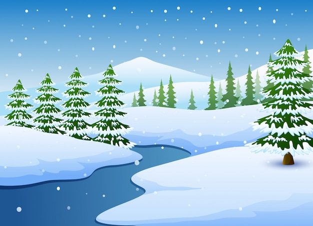 Winter landscape with frozen lake and fir trees Premium Vector