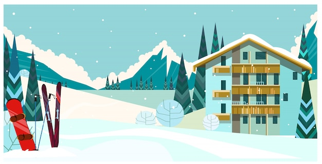 Winter landscape with guest house, skis and snowboard Free Vector