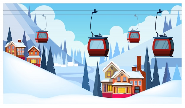 Winter landscape with guest houses and ski cable cars Free Vector