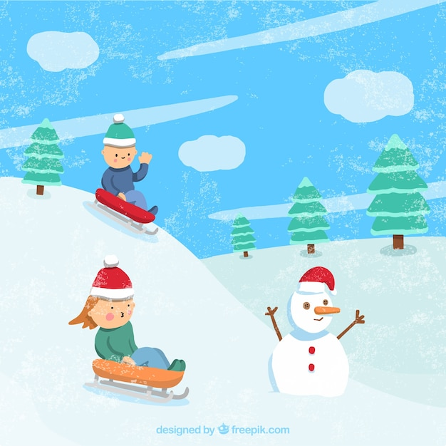 Winter landscape with kids on sledges Free Vector