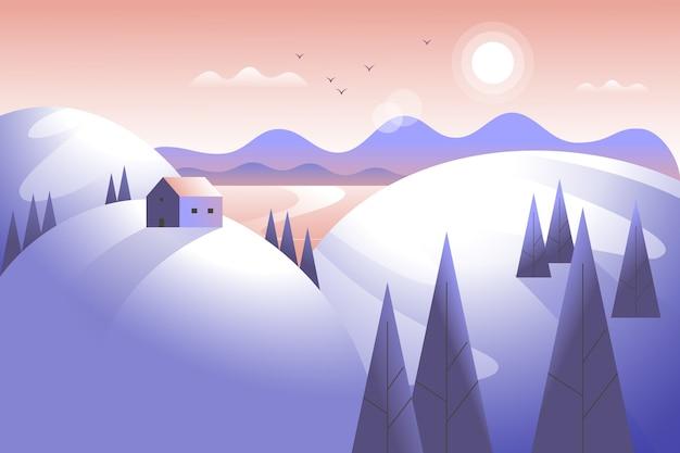 Зимний пейзаж с горами и деревьями Бесплатные векторы