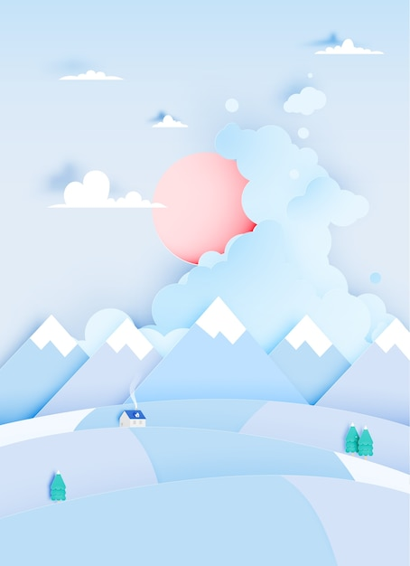 Winter landscape with paper art style and pastel color scheme vector illustration Premium Vector