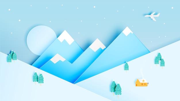 Winter landscape with paper art style and pastel color scheme Premium Vector