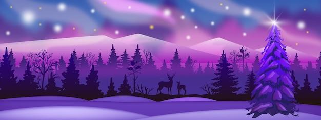 ピンクと紫の森、鹿のシルエット、夜空の冬の風景。アラスカの背景 Premiumベクター