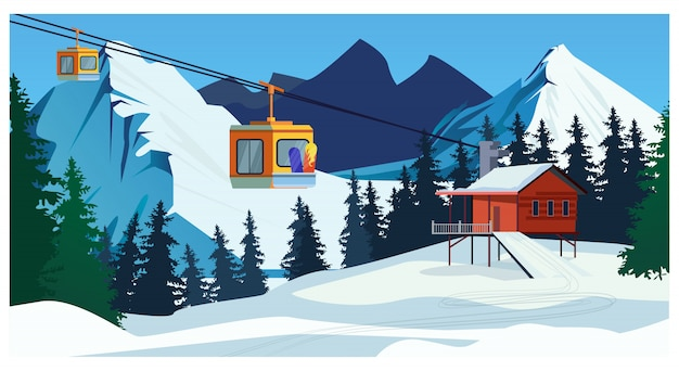 Winter landscape with ropeway station and ski cable cars Free Vector