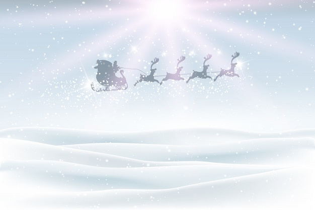 Winter landscape with santa flying in the\ sky