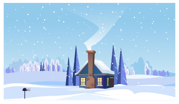 Winter landscape with small house and smoking chimney Free Vector