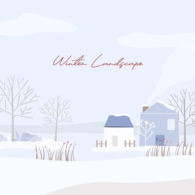 눈 덮인 집 겨울 풍경 무료 벡터