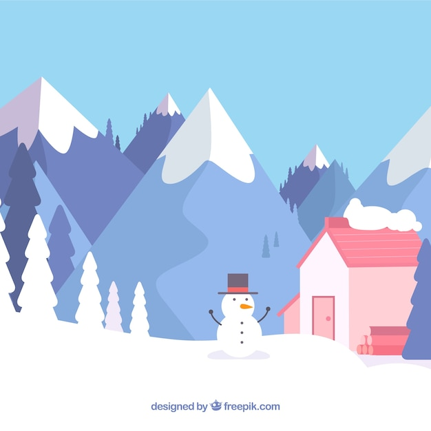 Winter landscape with snowman and house