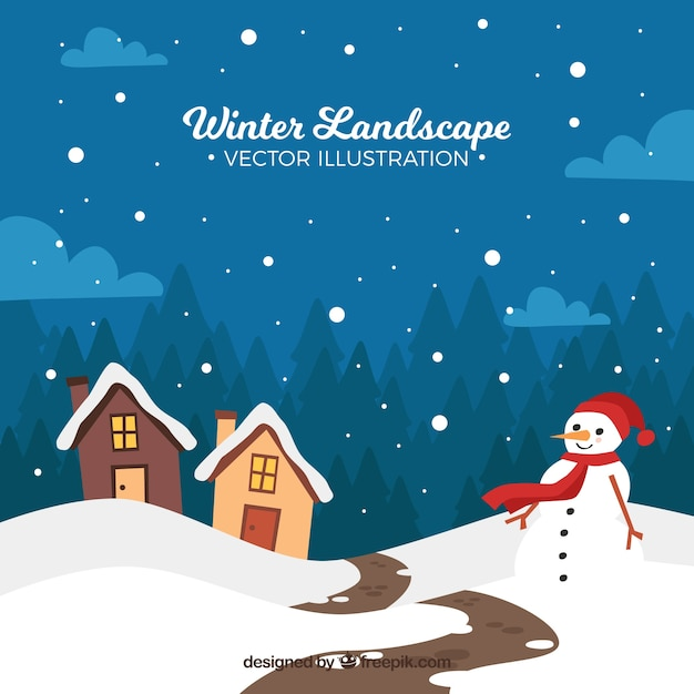 Winter landscape with snowman and houses