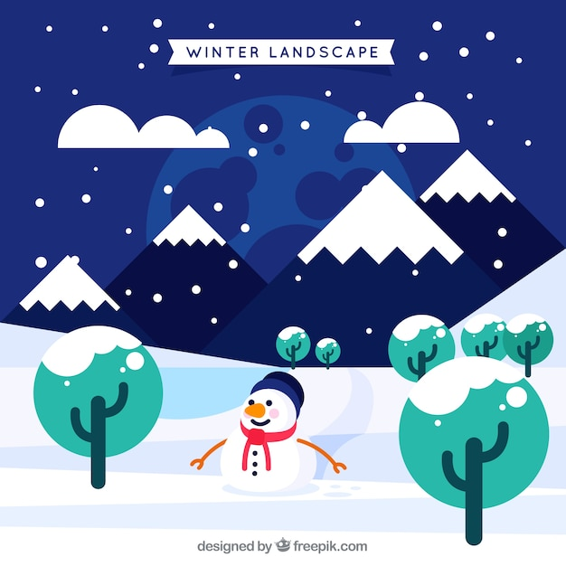 Winter landscape with snowman and\ mountains