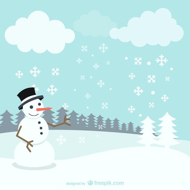 winter landscape with snowman vector free download. Black Bedroom Furniture Sets. Home Design Ideas