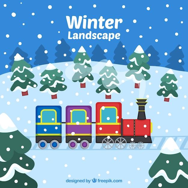 Winter landscape with train