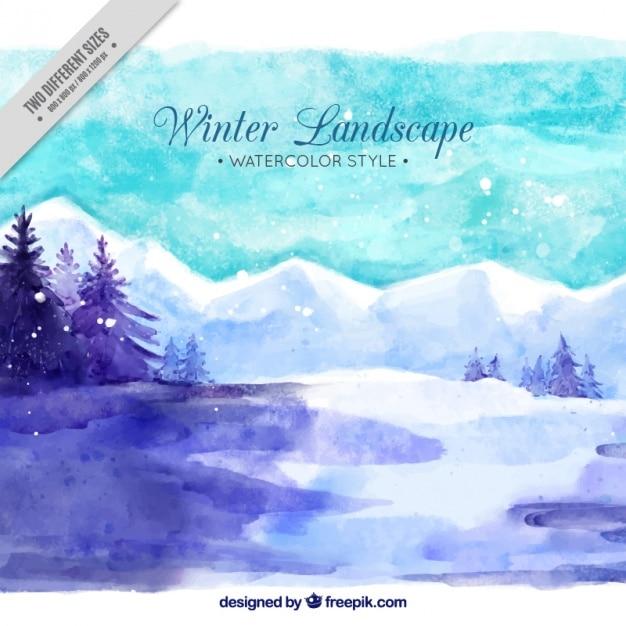 Зимний пейзаж с акварельными снежные горы Бесплатные векторы