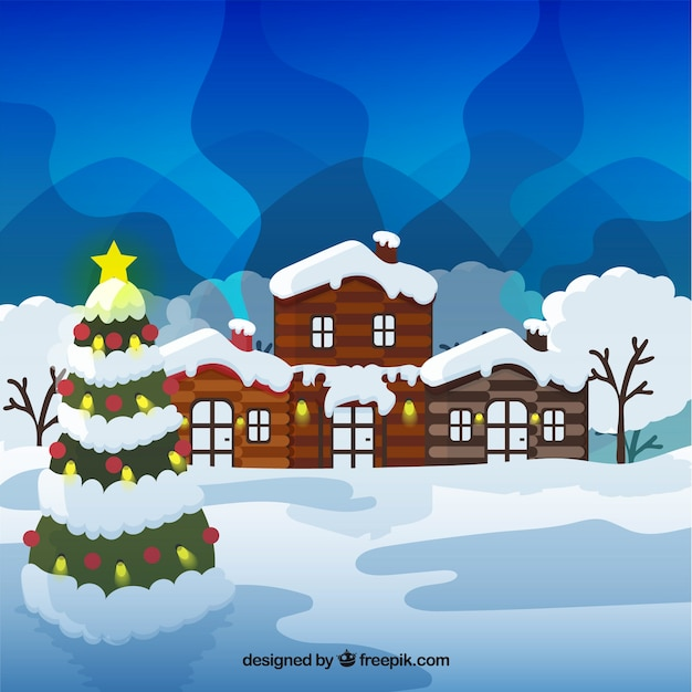 Winter landscape with wooden house and\ christmas tree