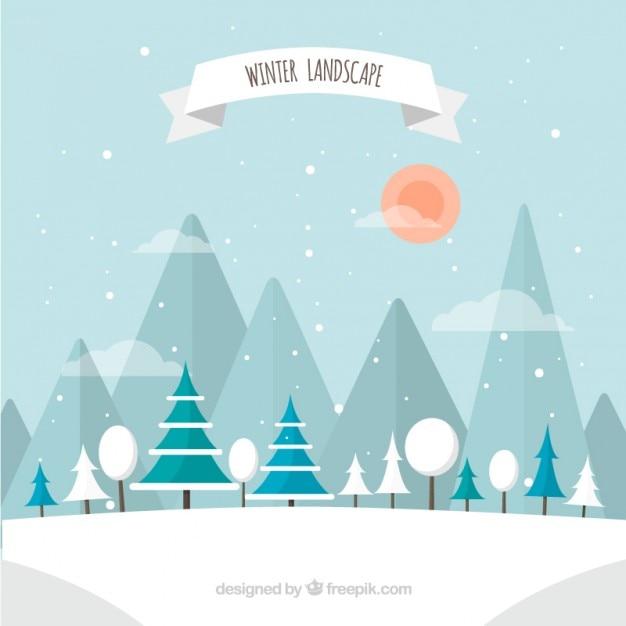 winter landscape vector premium download. Black Bedroom Furniture Sets. Home Design Ideas