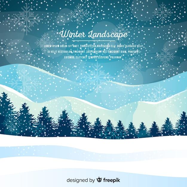 Winter landscape Free Vector