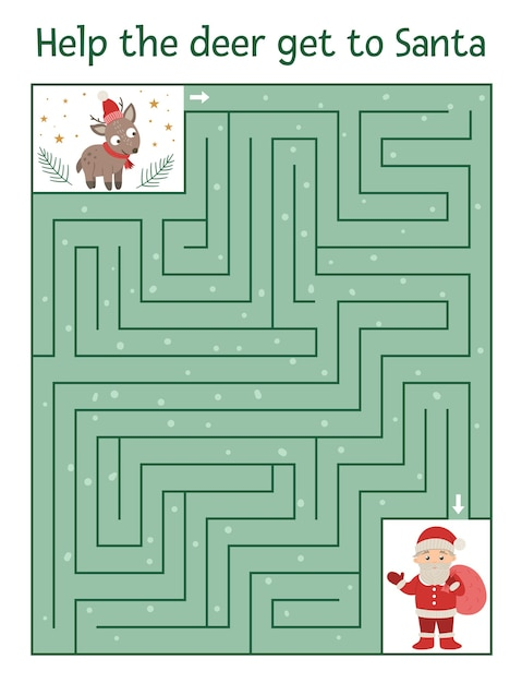 Winter maze for children. preschool christmas activity. Premium Vector