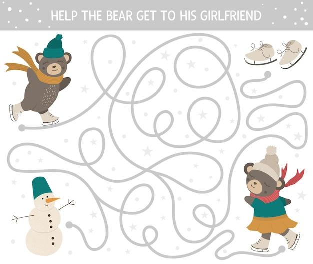 Зимний лабиринт для детей. дошкольная рождественская деятельность. Premium векторы
