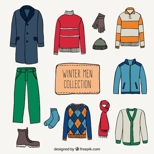 Winter men collection Free Vector