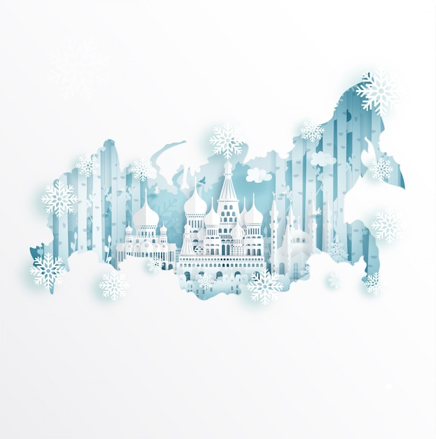 Winter in moscow, russia with map concept for travel and ...