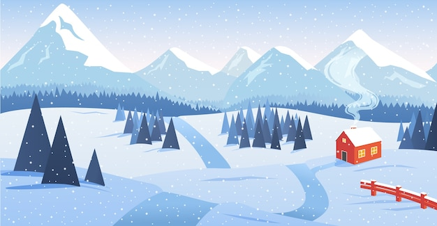 Зимний горный пейзаж с лесом и одиноким домом у дороги с падающим снегом. Premium векторы